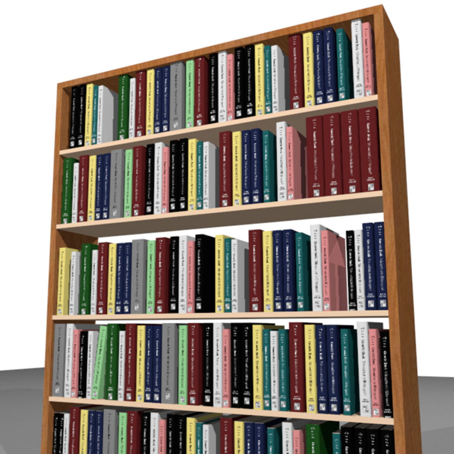 Bookshelf With Books: C4D Format royalty-free 3d model - Preview no. 6