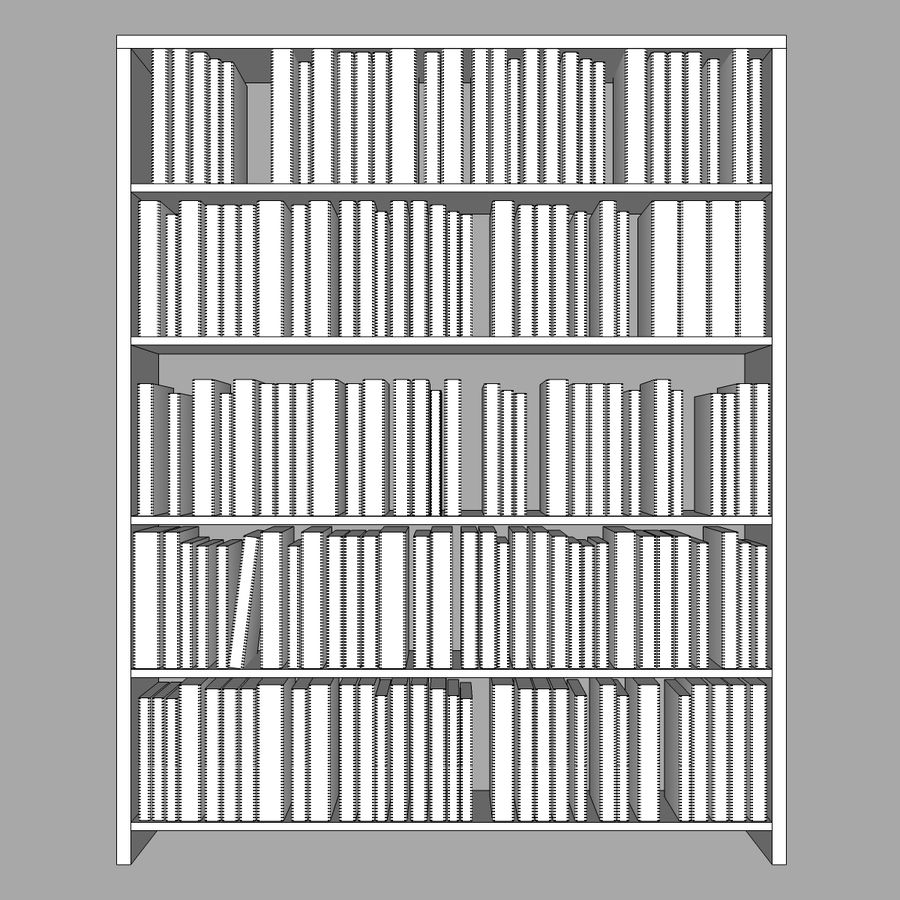 Bookshelf With Books: C4D Format royalty-free 3d model - Preview no. 9