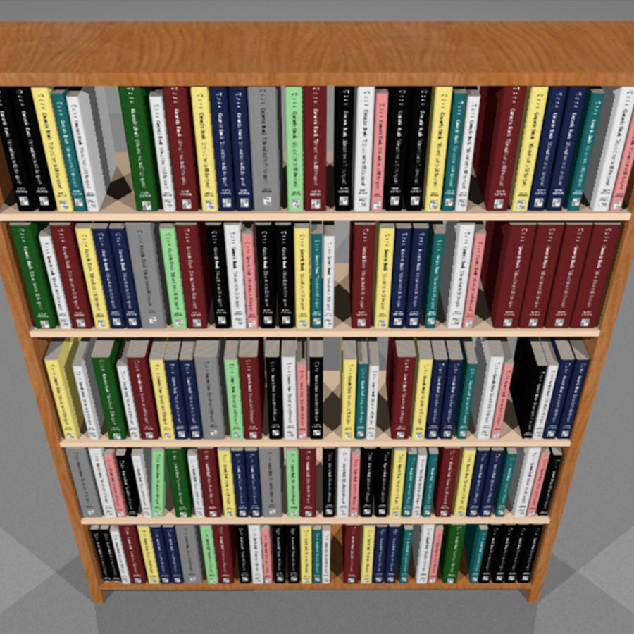 Bookshelf With Books: C4D Format royalty-free 3d model - Preview no. 7