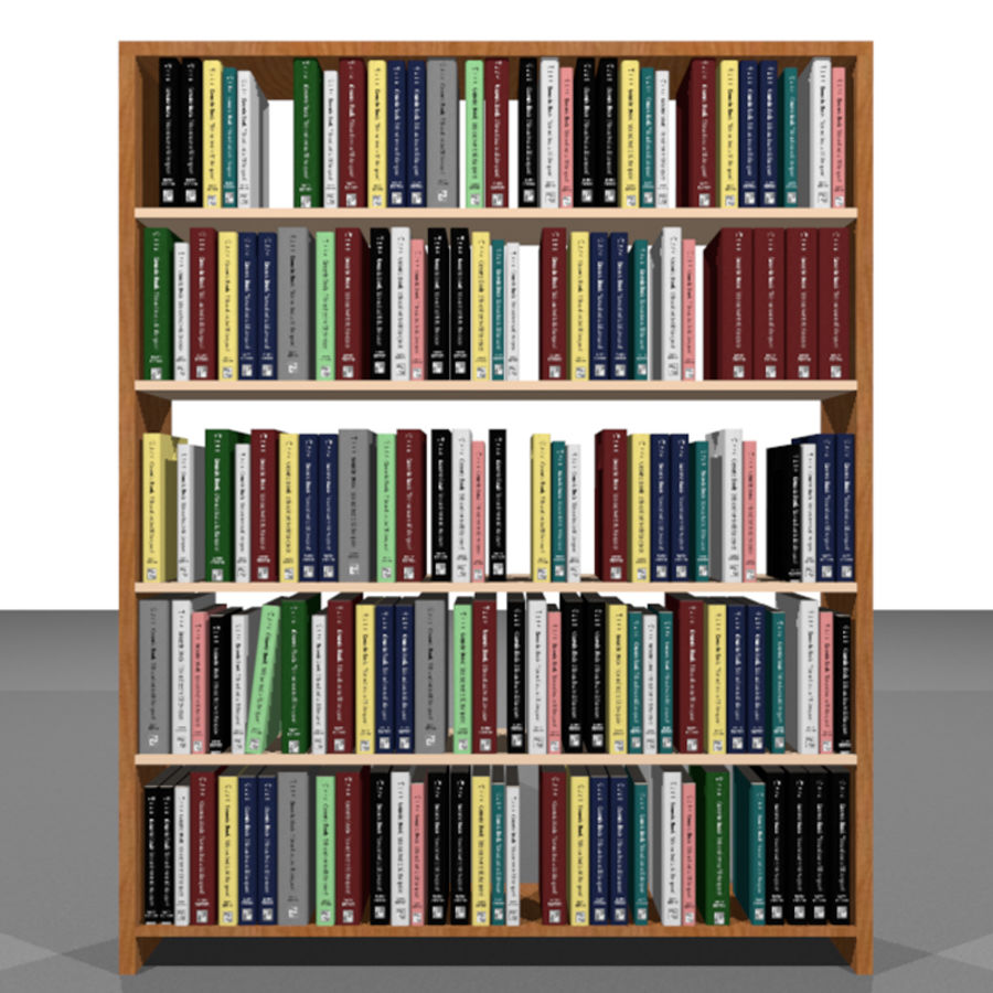 Bookshelf With Books: C4D Format royalty-free 3d model - Preview no. 2