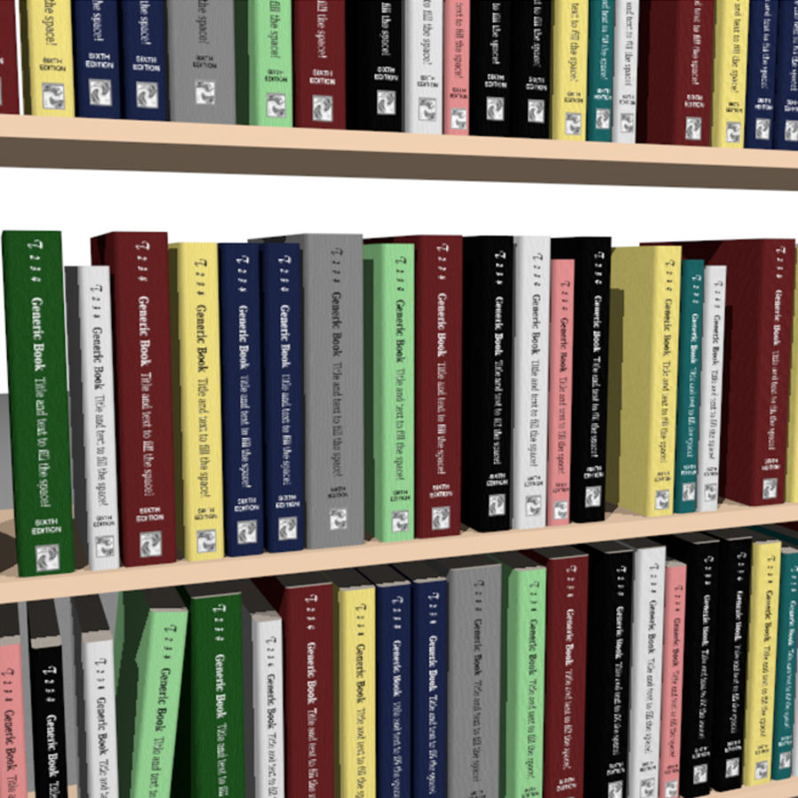 Bookshelf With Books: C4D Format royalty-free 3d model - Preview no. 4