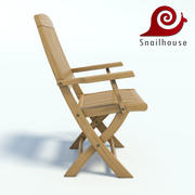 Realistic wooden garden chair 3d model
