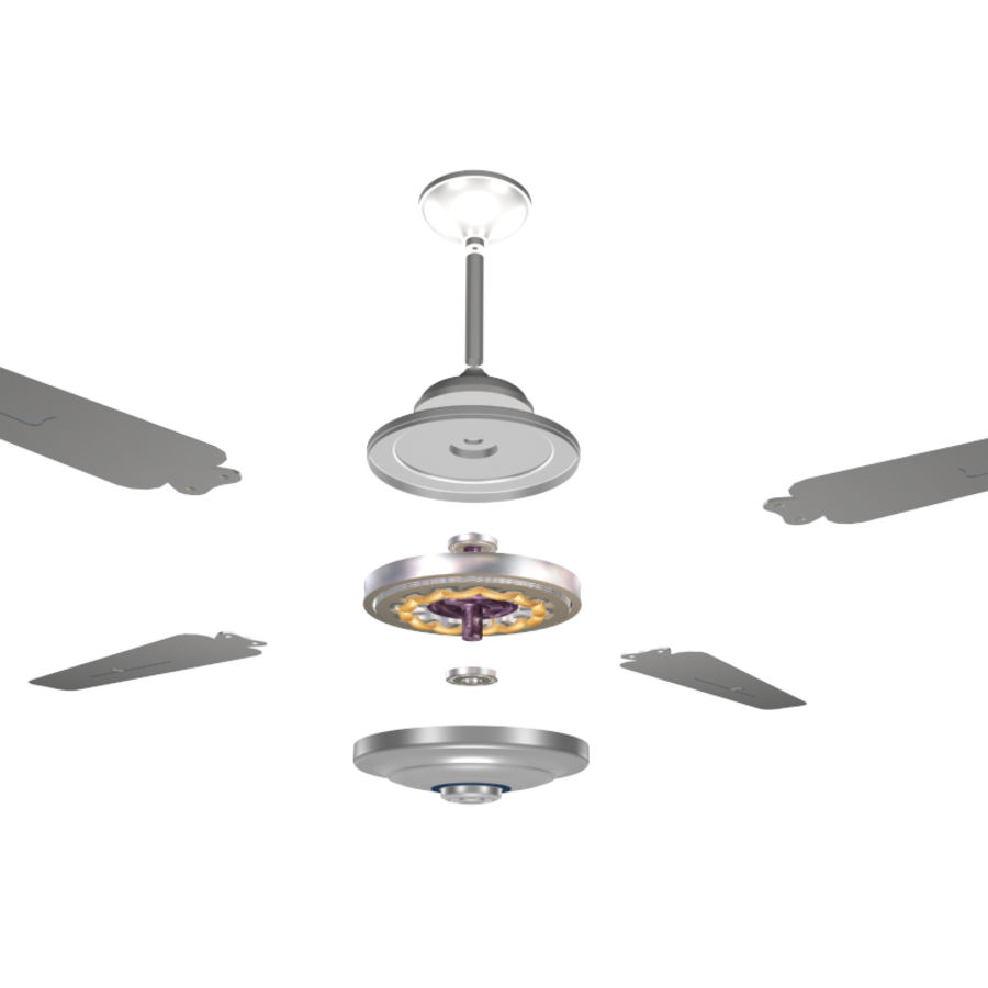 Ventilateur de plafond avec moteur royalty-free 3d model - Preview no. 5