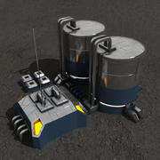 Fuel station sci-fi building 3d model