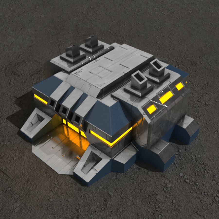 Factory v.2 sci-fi building royalty-free 3d model - Preview no. 1