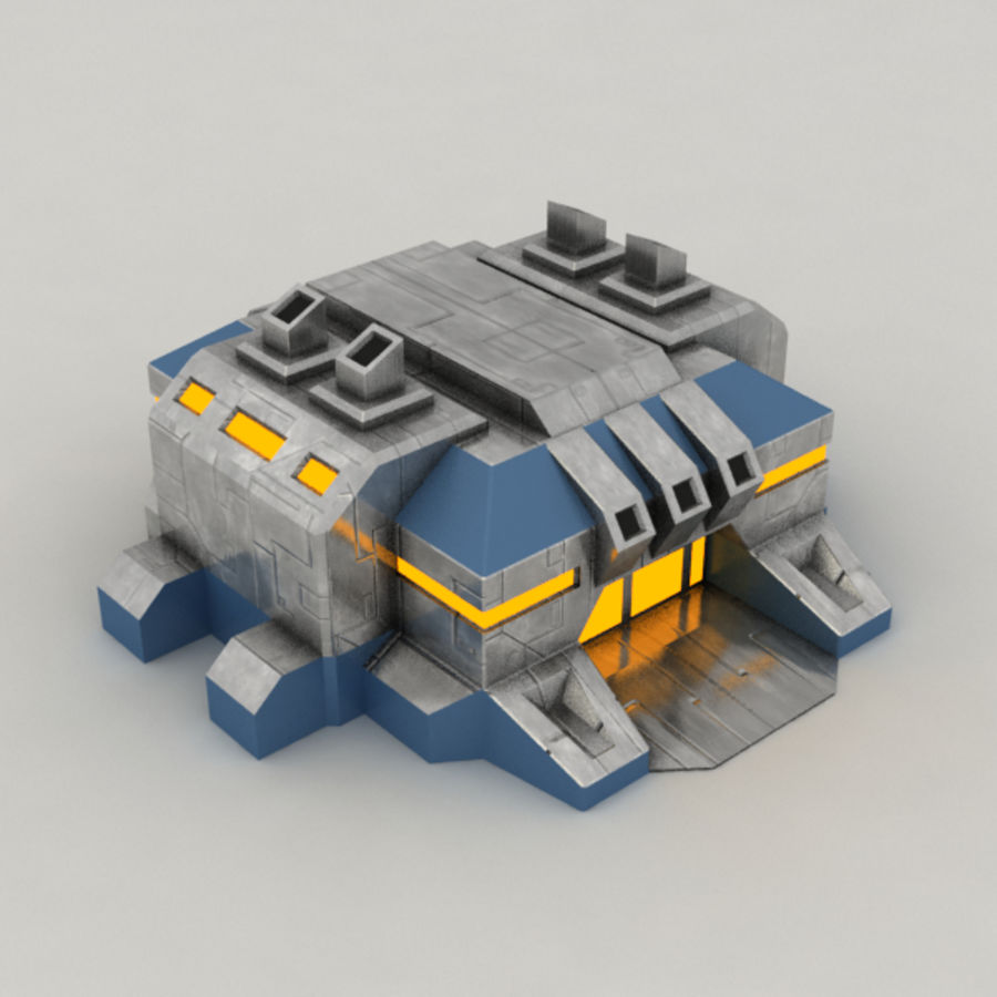 Factory v.2 sci-fi building royalty-free 3d model - Preview no. 4