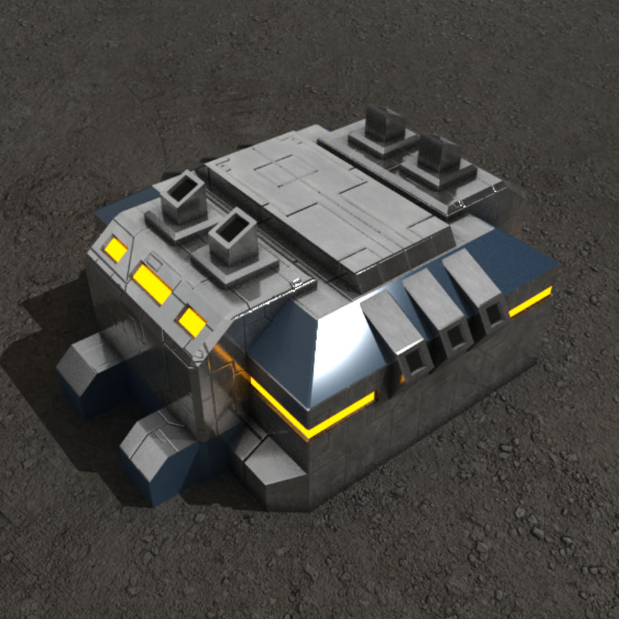 Factory v.2 sci-fi building royalty-free 3d model - Preview no. 2