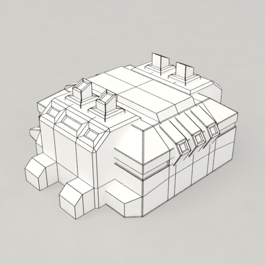 Factory v.2 sci-fi building royalty-free 3d model - Preview no. 7