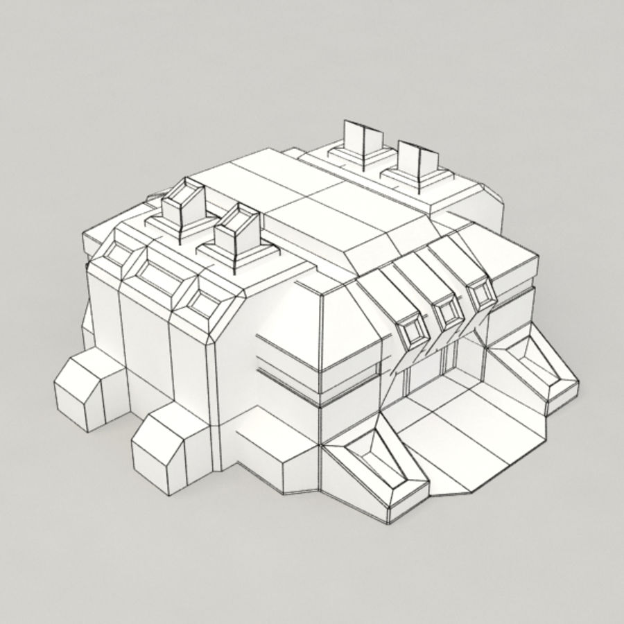 Factory v.2 sci-fi building royalty-free 3d model - Preview no. 6