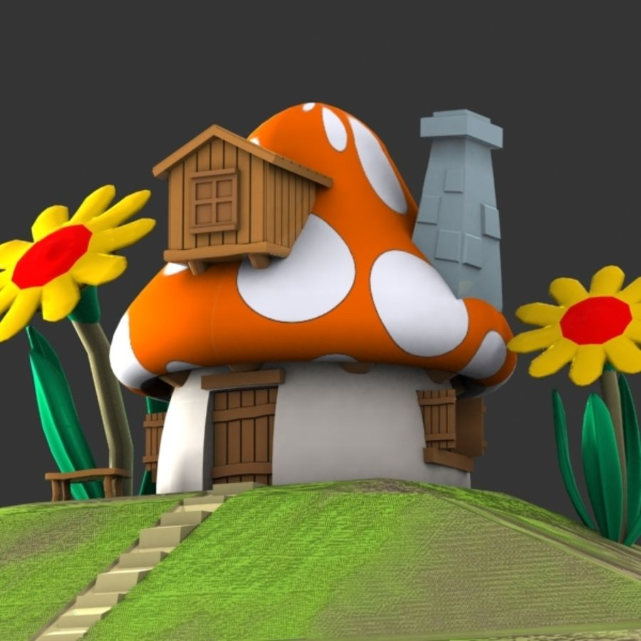 Mushroom House 3 (Smurfs) royalty-free 3d model - Preview no. 2