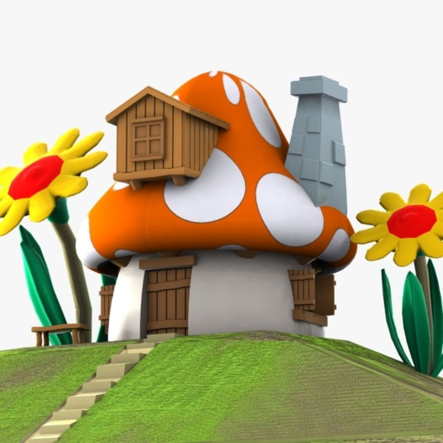 Mushroom House 3 (Smurfs) royalty-free 3d model - Preview no. 1