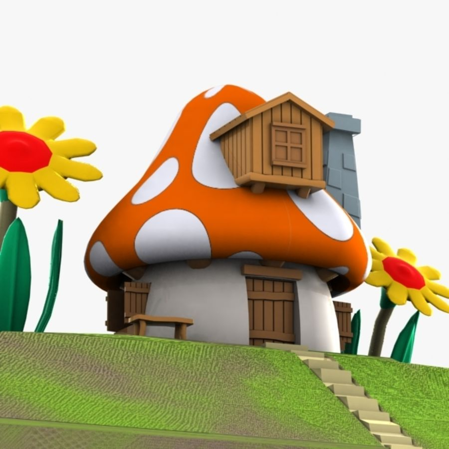 Mushroom House 3 (Smurfs) royalty-free 3d model - Preview no. 4