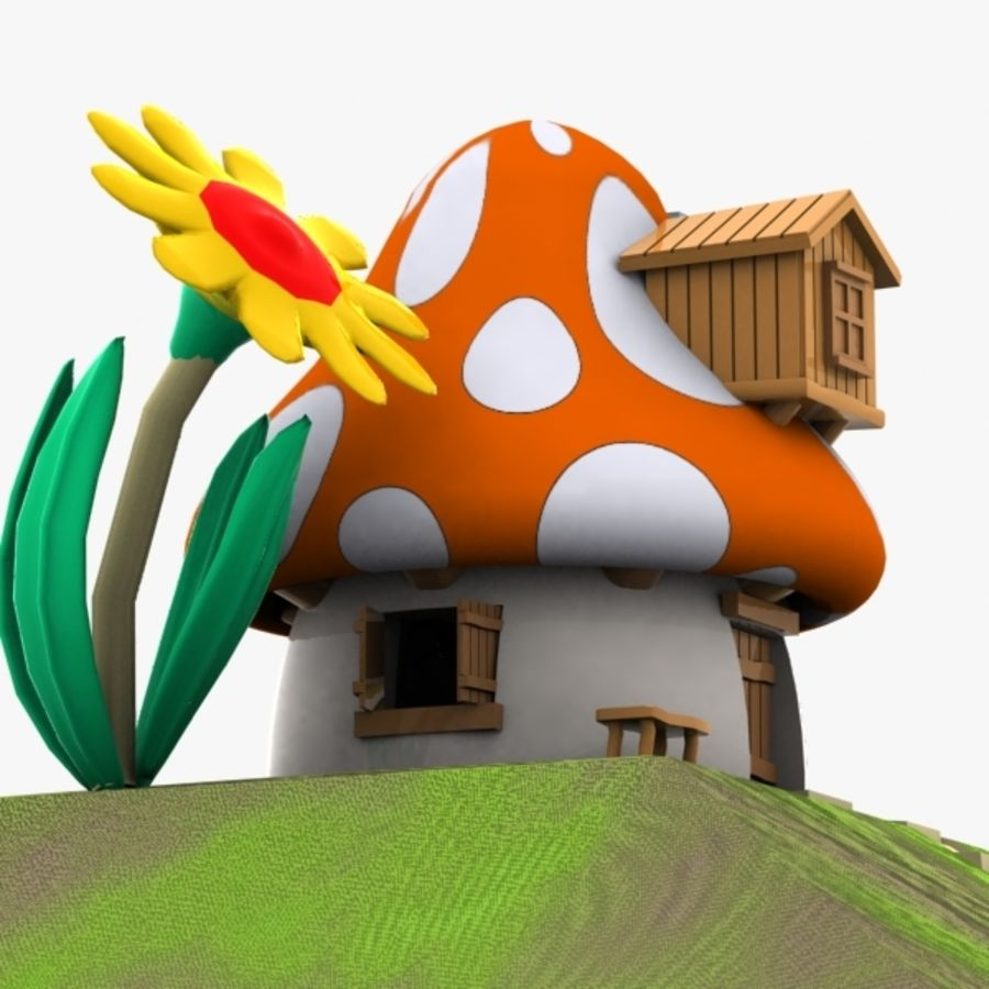 Mushroom House 3 (Smurfs) royalty-free 3d model - Preview no. 5