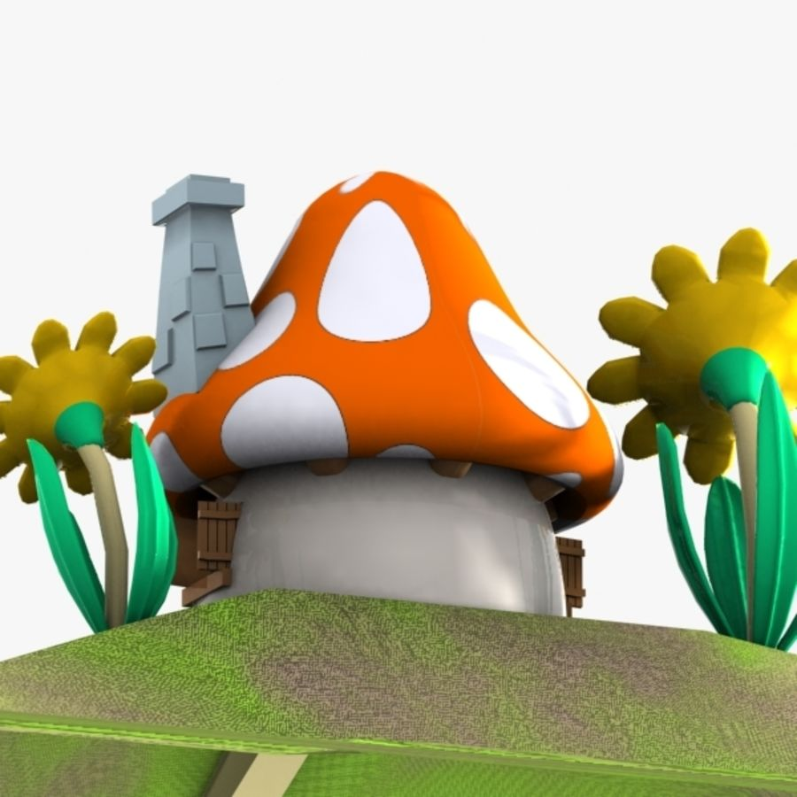 Mushroom House 3 (Smurfs) royalty-free 3d model - Preview no. 7