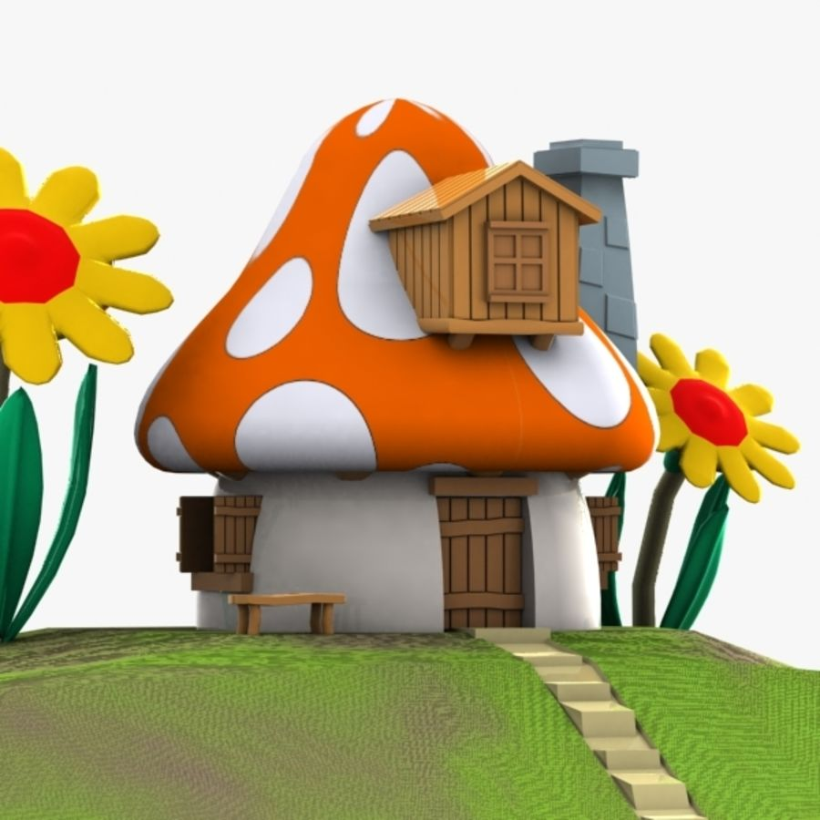 Mushroom House 3 (Smurfs) royalty-free 3d model - Preview no. 3