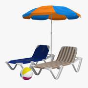 Strandstolar och paraply 3d model