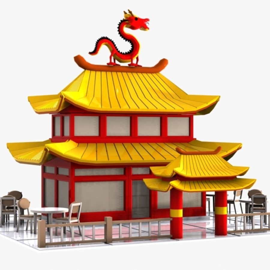 Chinese Restsurant: Cartoon Chinese Restaurant 3D Model $15
