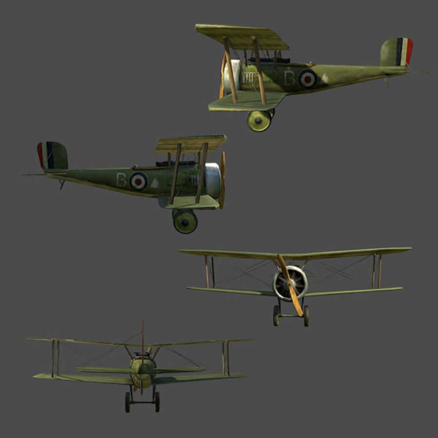 WWI Fighter plane royalty-free 3d model - Preview no. 4