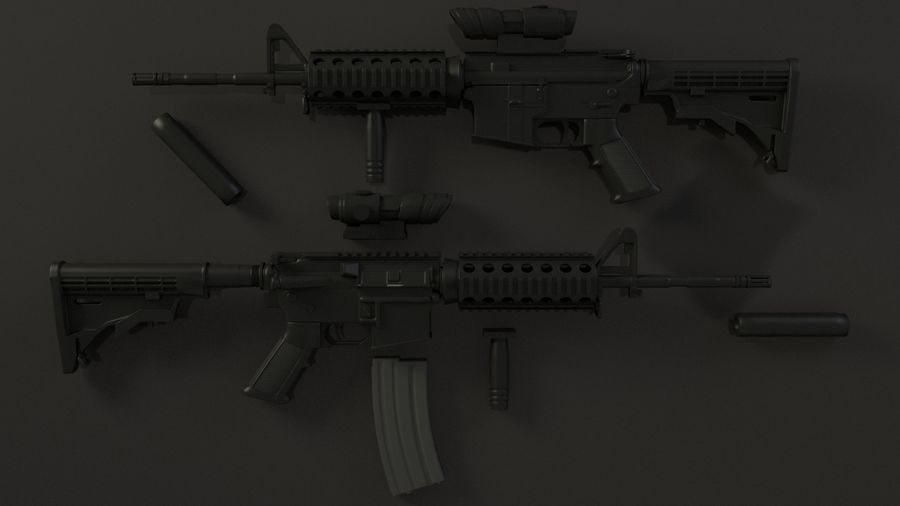 M4A1 royalty-free 3d model - Preview no. 4