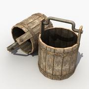 Old Wooden Bucket 3d model