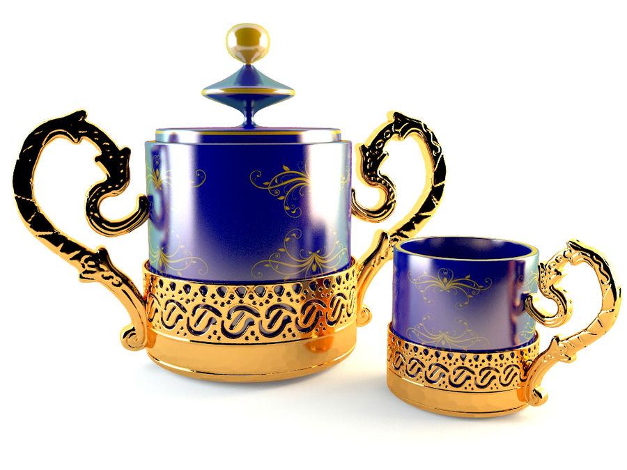 Set da caffè Golden Tea royalty-free 3d model - Preview no. 2