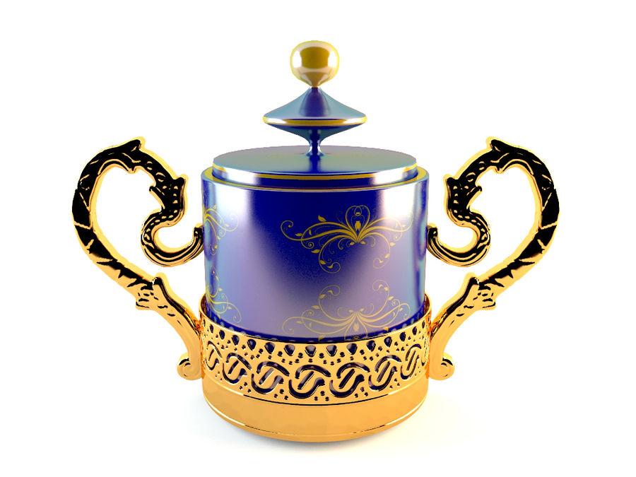 Set da caffè Golden Tea royalty-free 3d model - Preview no. 3