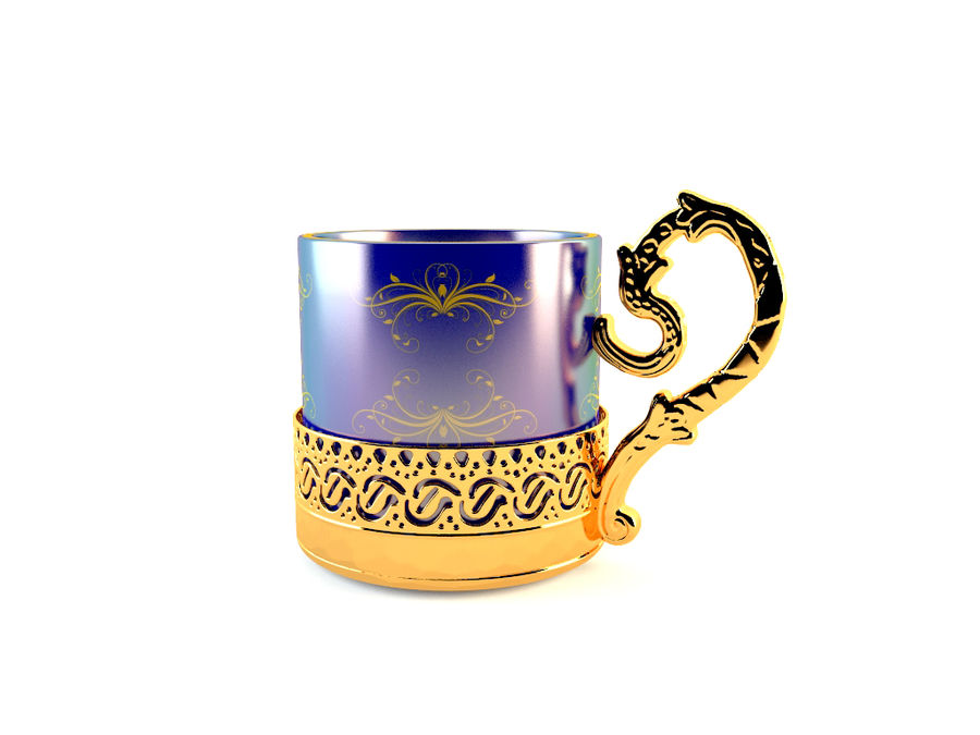 Set da caffè Golden Tea royalty-free 3d model - Preview no. 5