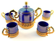 Golden Tea Coffee Set 3d model