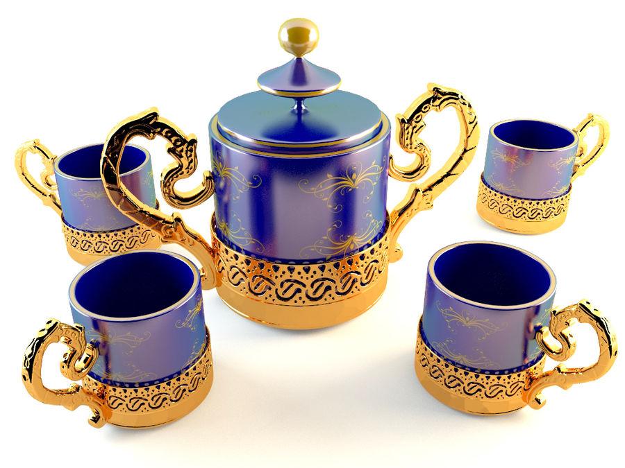 Set da caffè Golden Tea royalty-free 3d model - Preview no. 1