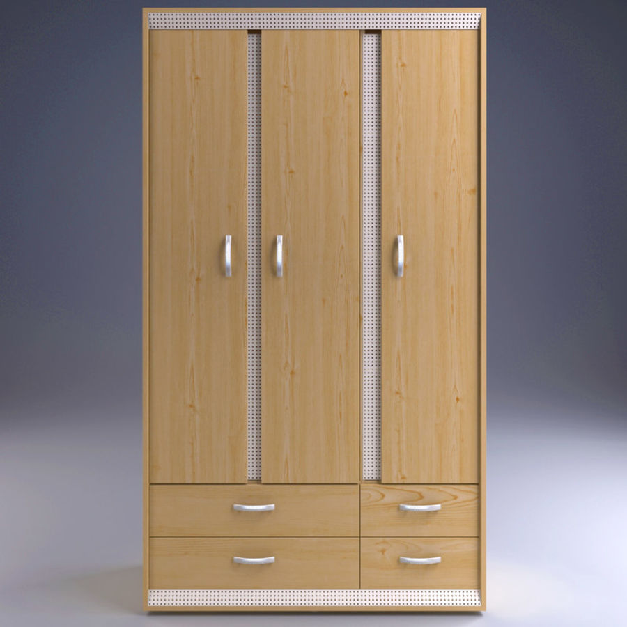 Wardrobe and Chest of Drawers Set royalty-free 3d model - Preview no. 8