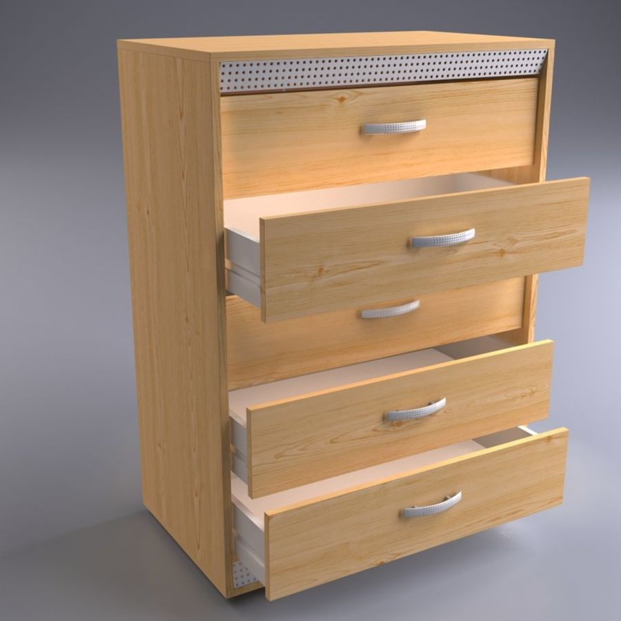 Wardrobe and Chest of Drawers Set royalty-free 3d model - Preview no. 6