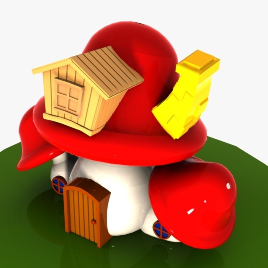 Mushroom House 4 royalty-free 3d model - Preview no. 6