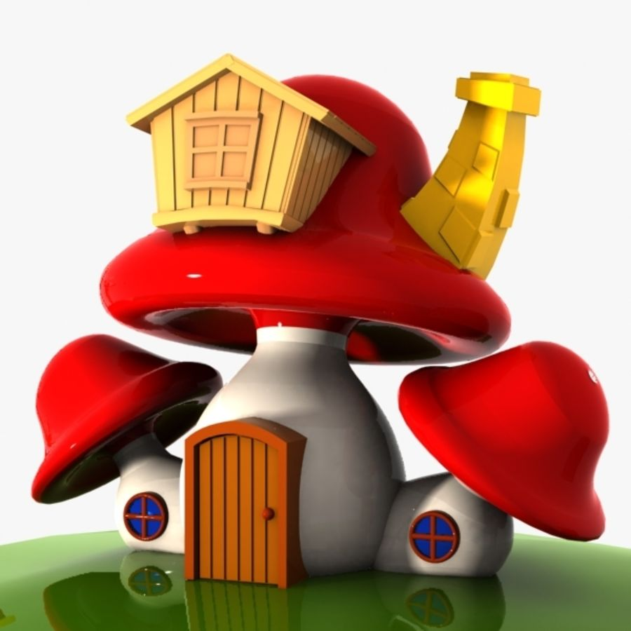 Mushroom House 4 royalty-free 3d model - Preview no. 1