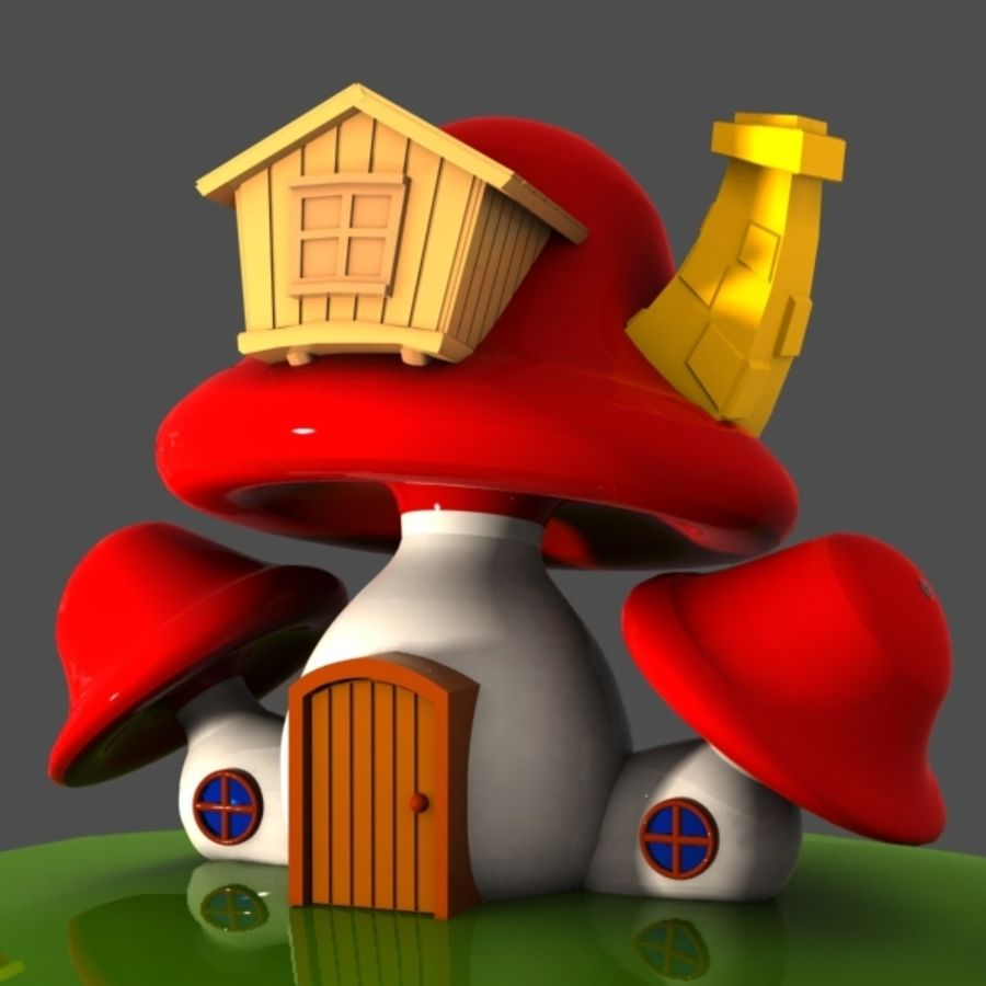Mushroom House 4 royalty-free 3d model - Preview no. 2