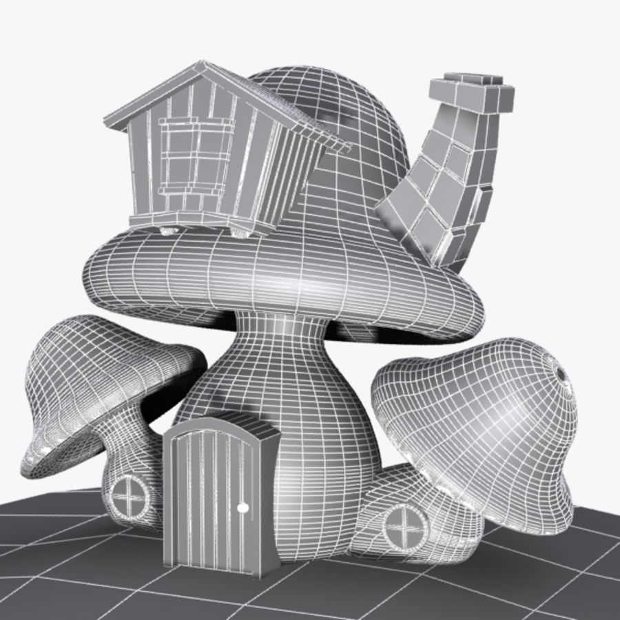 Mushroom House 4 royalty-free 3d model - Preview no. 7