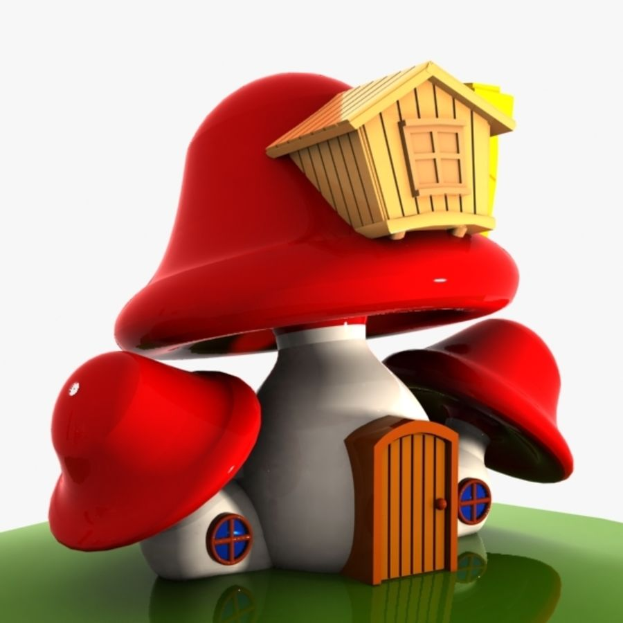 Mushroom House 4 royalty-free 3d model - Preview no. 4