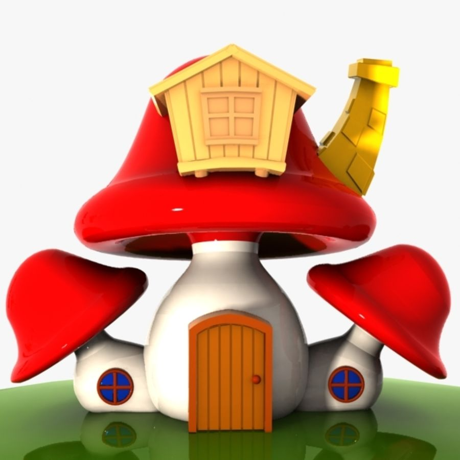 Mushroom House 4 royalty-free 3d model - Preview no. 3