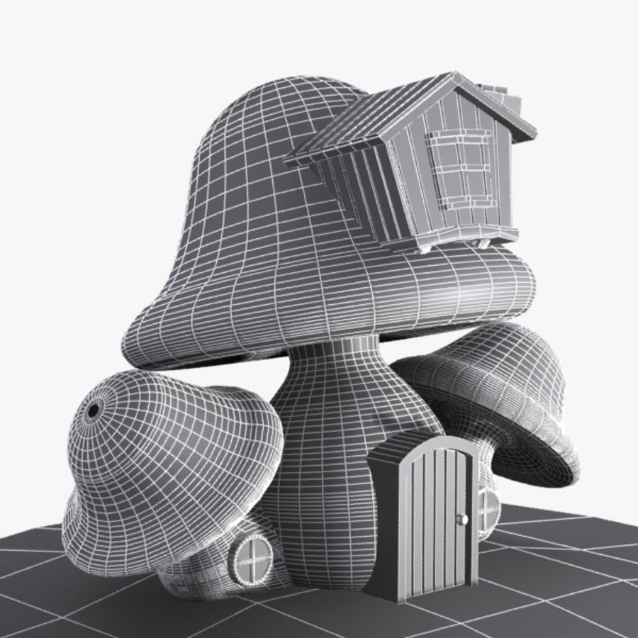 Mushroom House 4 royalty-free 3d model - Preview no. 9