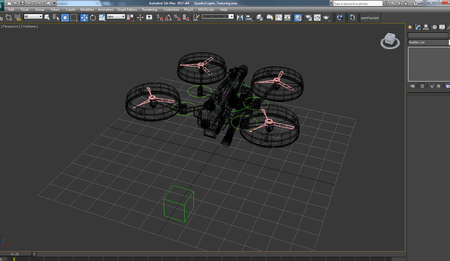 Quadrocopter Drone royalty-free 3d model - Preview no. 4