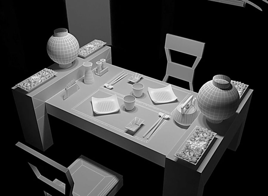 Japanese restaurant royalty-free 3d model - Preview no. 3
