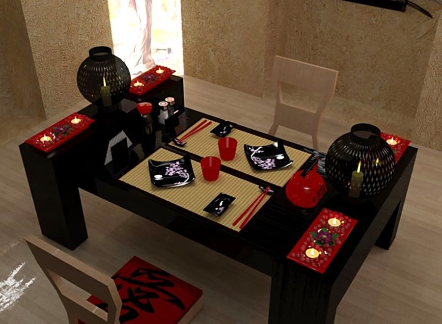 Japanese restaurant royalty-free 3d model - Preview no. 4