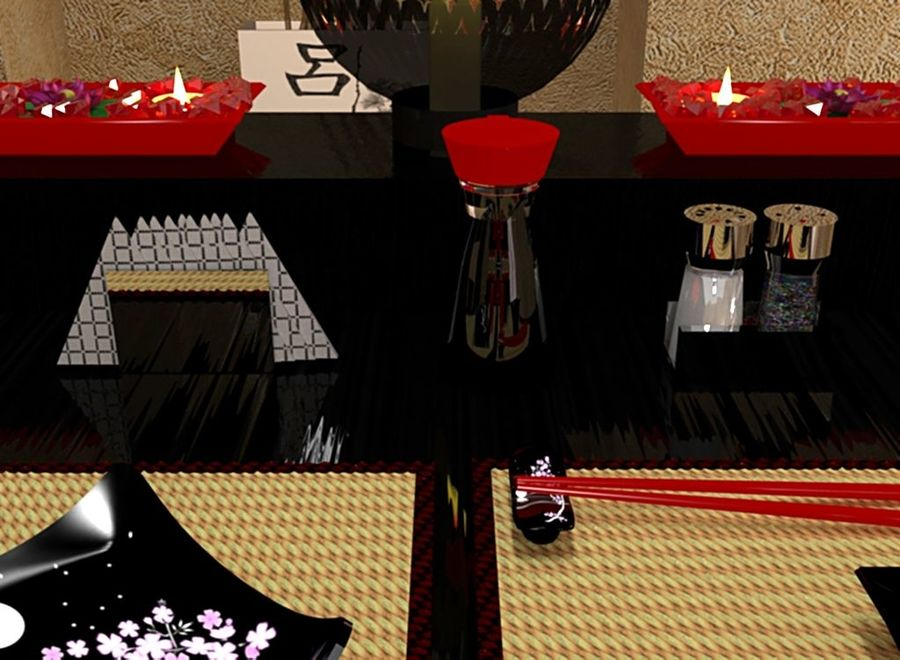 Japanese restaurant royalty-free 3d model - Preview no. 6