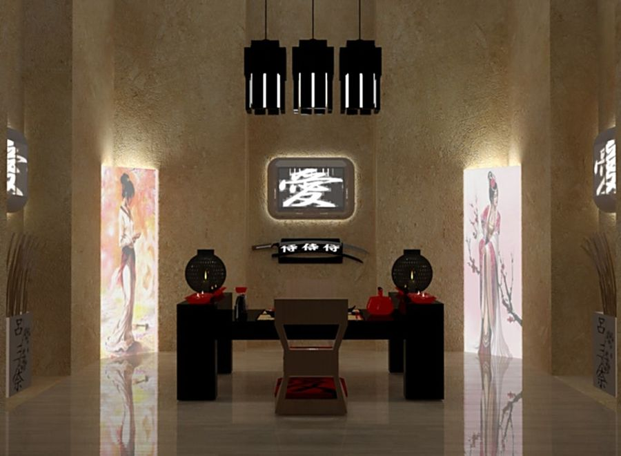 Japanese restaurant royalty-free 3d model - Preview no. 1