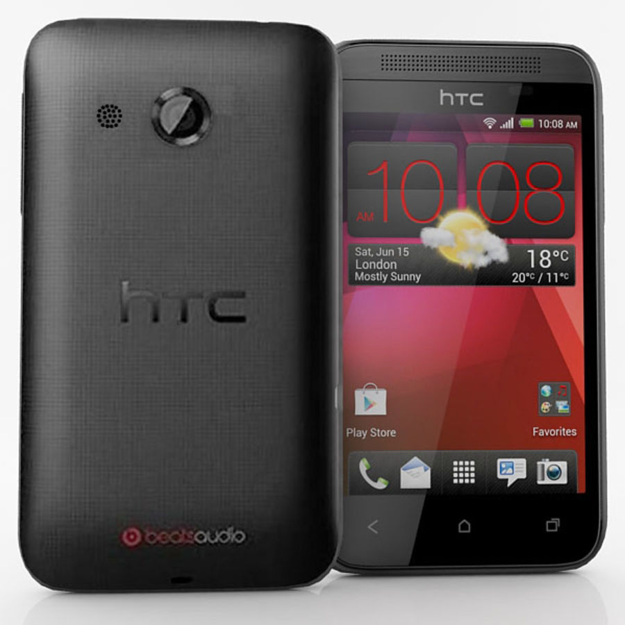 HTC Desire 200 Black royalty-free 3d model - Preview no. 3