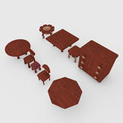 Tables Chairs Drawers Set For Kids 3d model