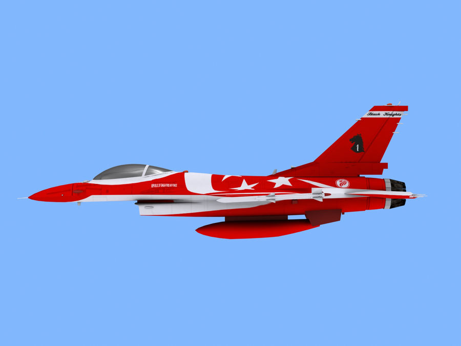 RSAF F16 Black Knights royalty-free 3d model - Preview no. 5