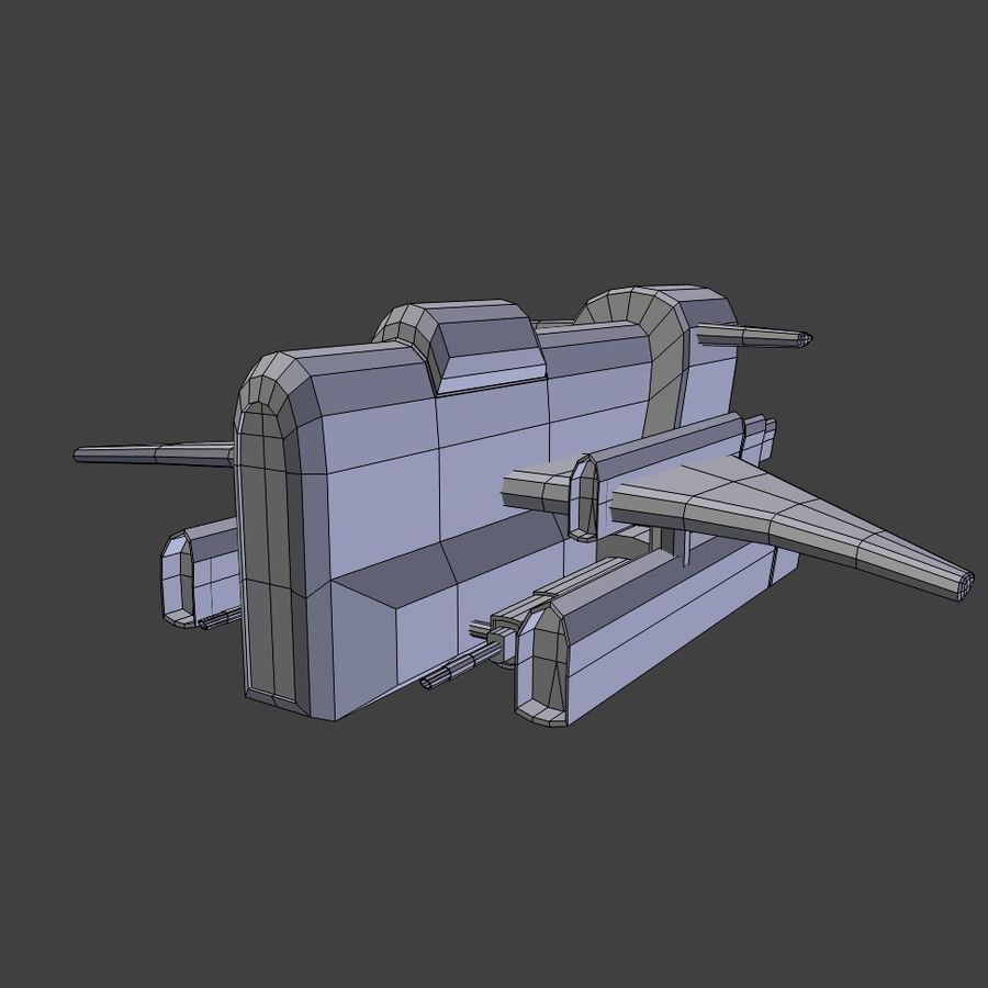 Low Poly Space Ship Bus royalty-free 3d model - Preview no. 1