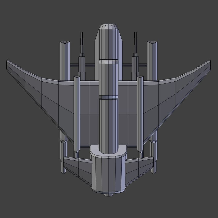 Low Poly Space Ship Bus royalty-free 3d model - Preview no. 2