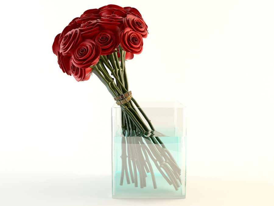 Red Roses Bouquet royalty-free 3d model - Preview no. 1