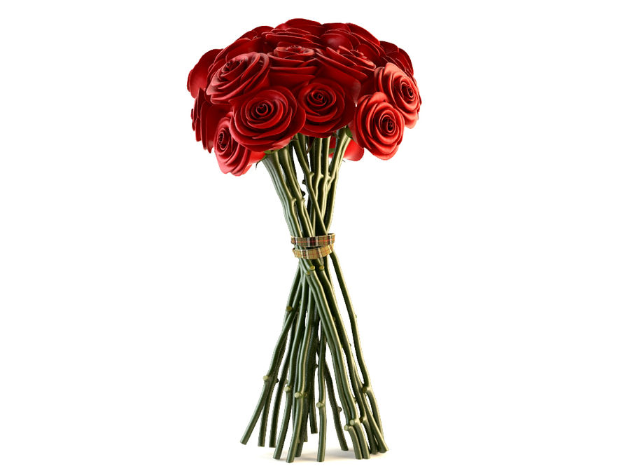 Red Roses Bouquet royalty-free 3d model - Preview no. 3